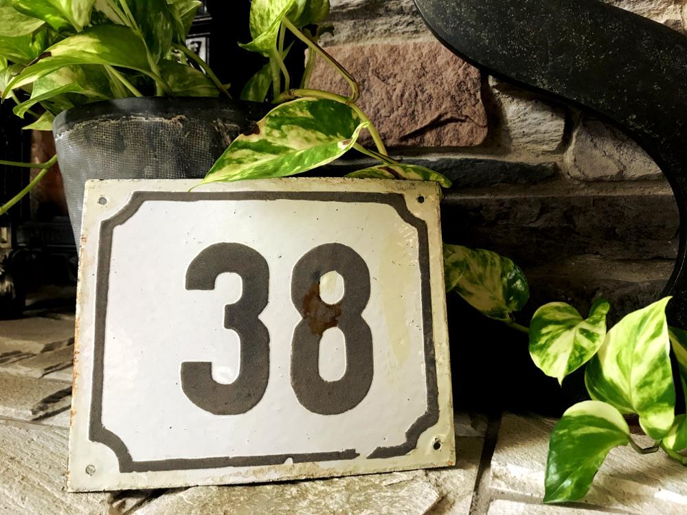 enamel house numbers ホーロー製ハウスナンバー 38 65